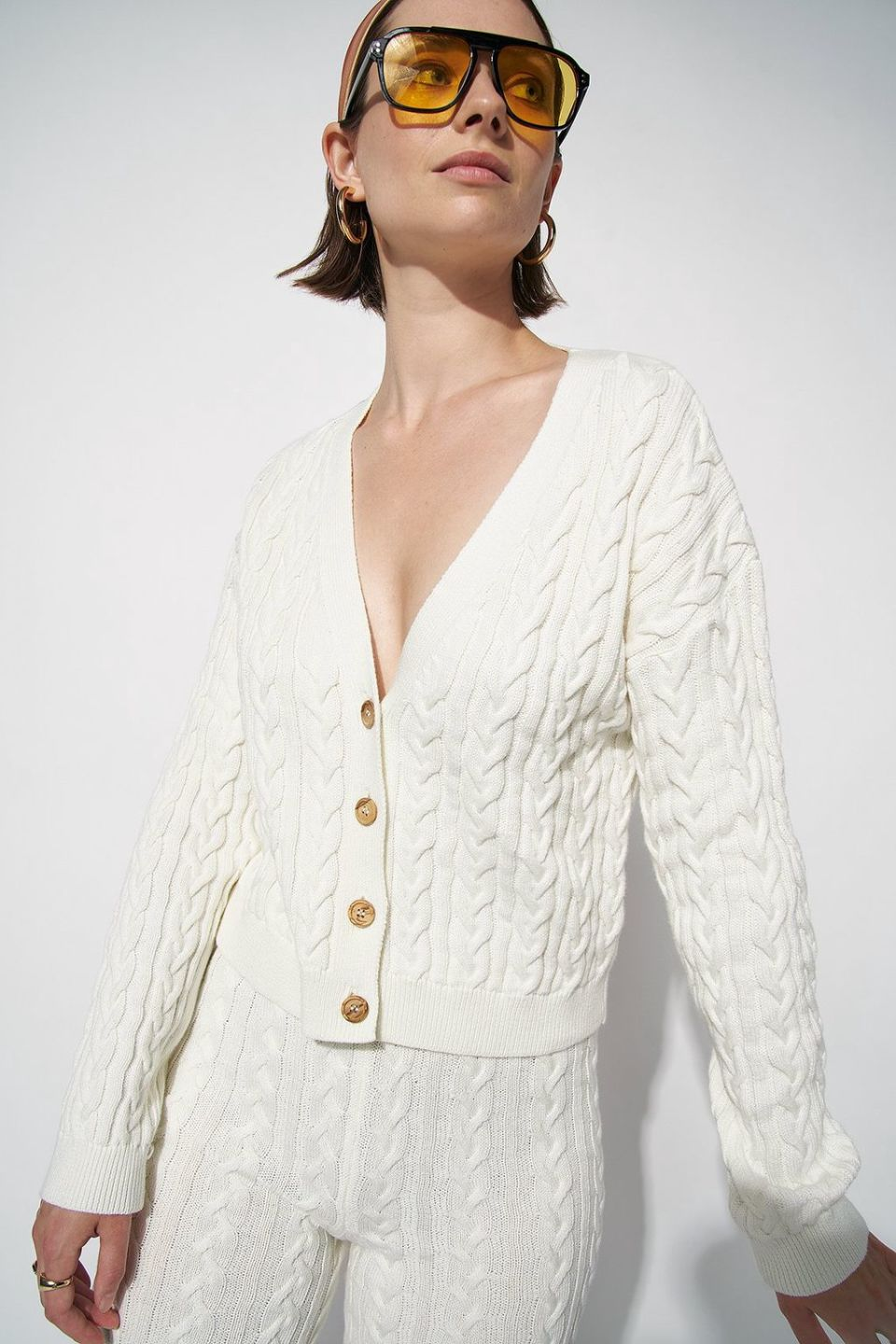 100% Organic Cropped Cable Knitted Cardigan