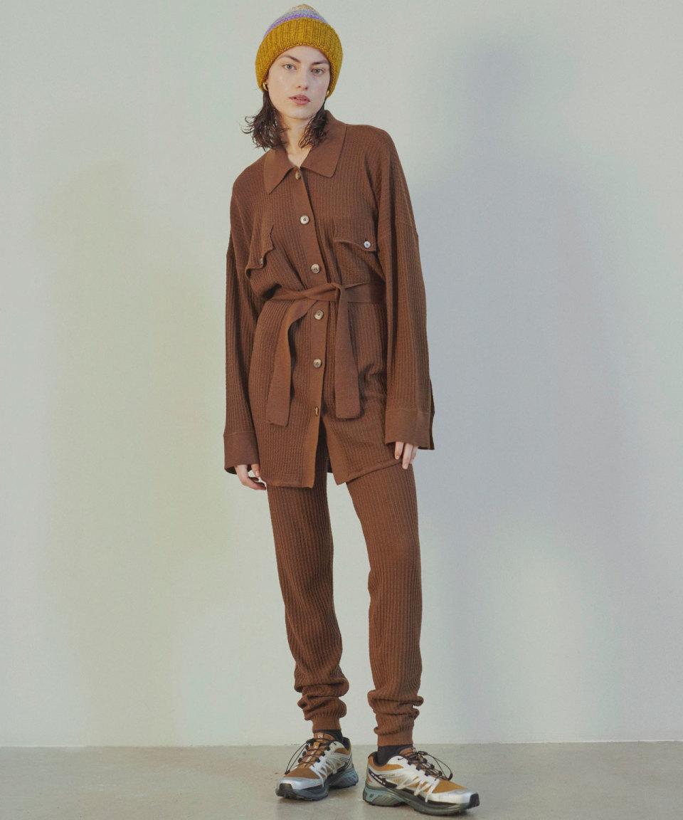 BLANCHE Brauner Cardigan mit Bindegürtel