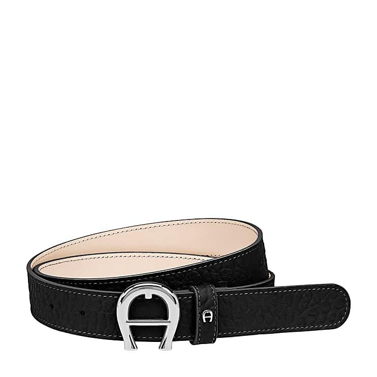 Aigner Damen Palermo Gürtel 3 cm Genarbtes, Leder in Schwarz