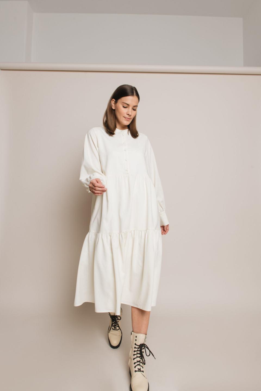 Hemdblusenkleid mit Knöpfen – Ivory