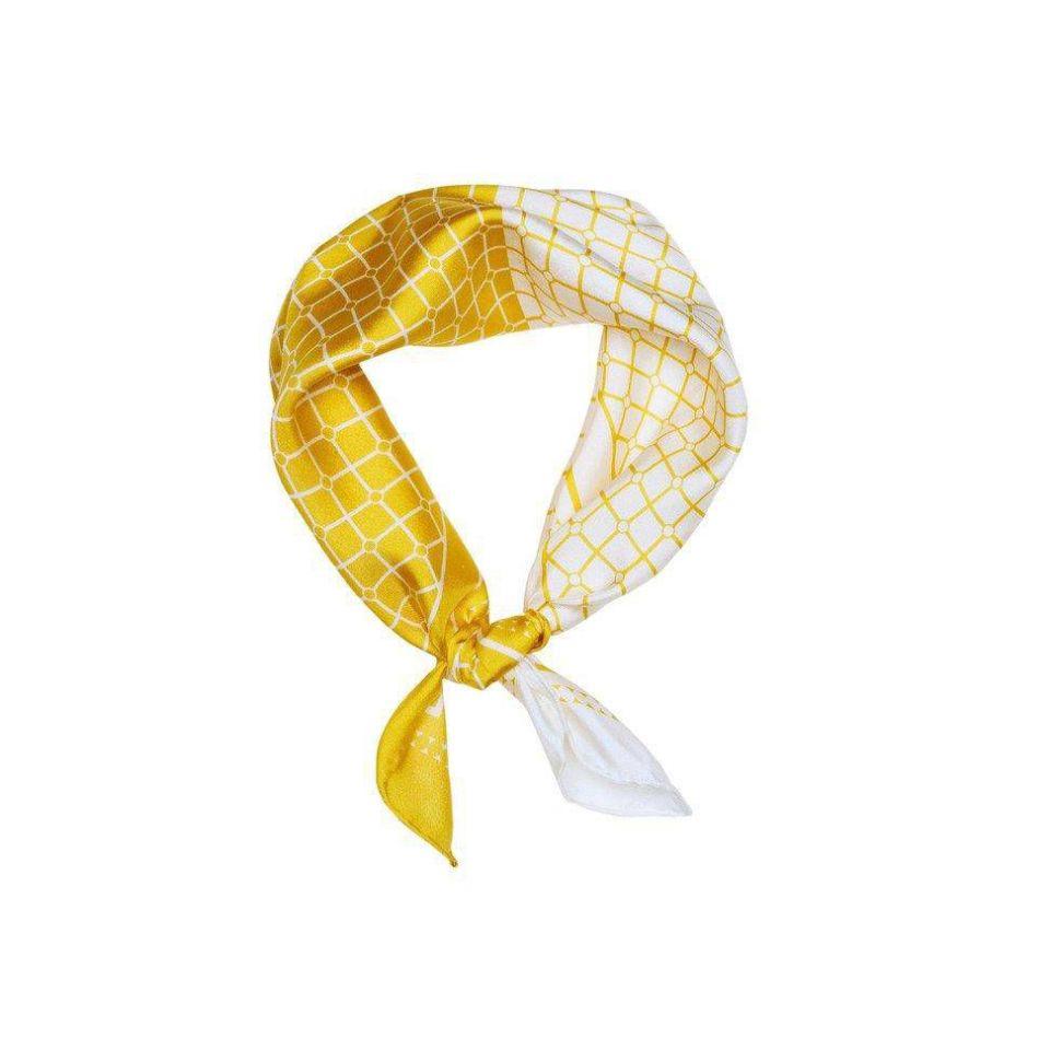 Hermine Duo Silk Scarf - Yellow & White