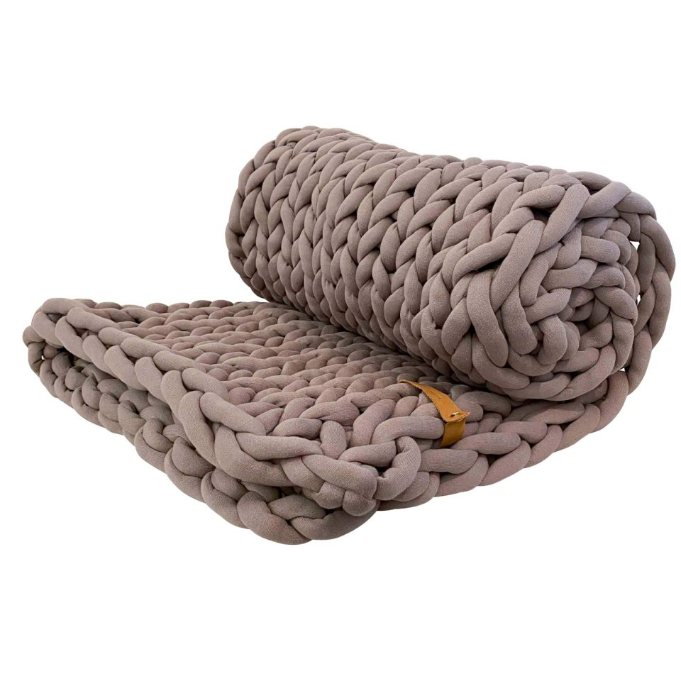 XXL Grobstrick Decke Cotton Tube, taupe
