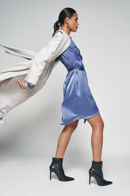 100% Recycled Wrap Balloon Sleeve Mini Dress