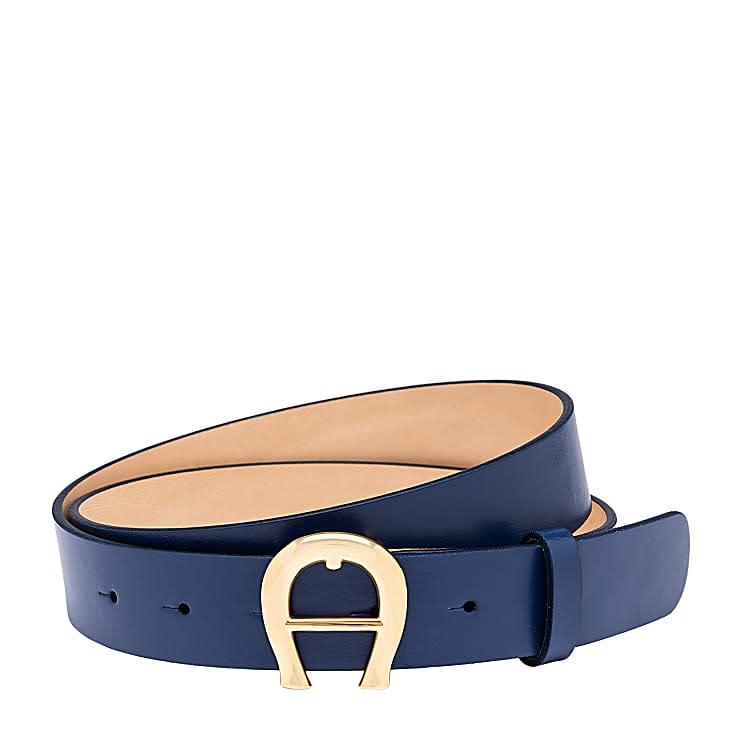 Aigner Damen Logo Gürtel 3 cm, Glattleder in Blau