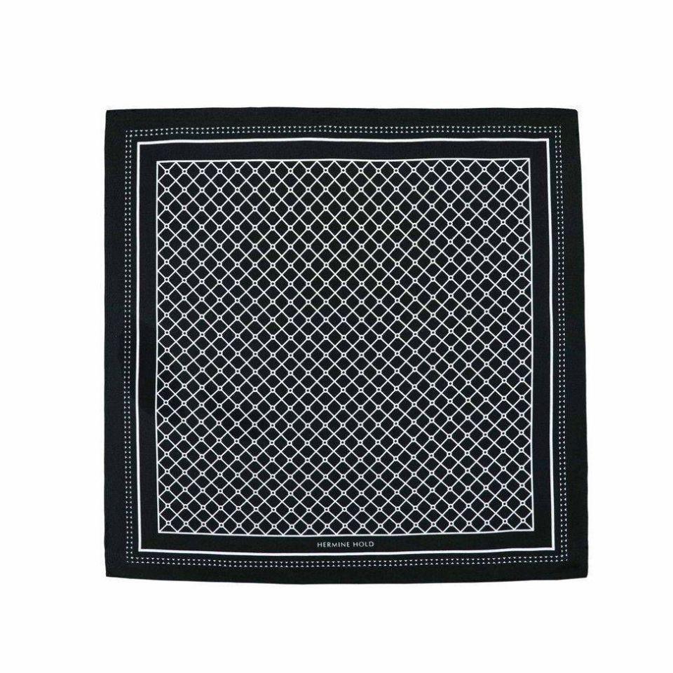 Hermine Silk Scarf -Black & White