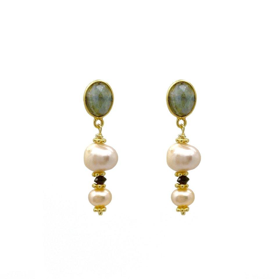 Labradorite Rose Pearl Drop Earrings