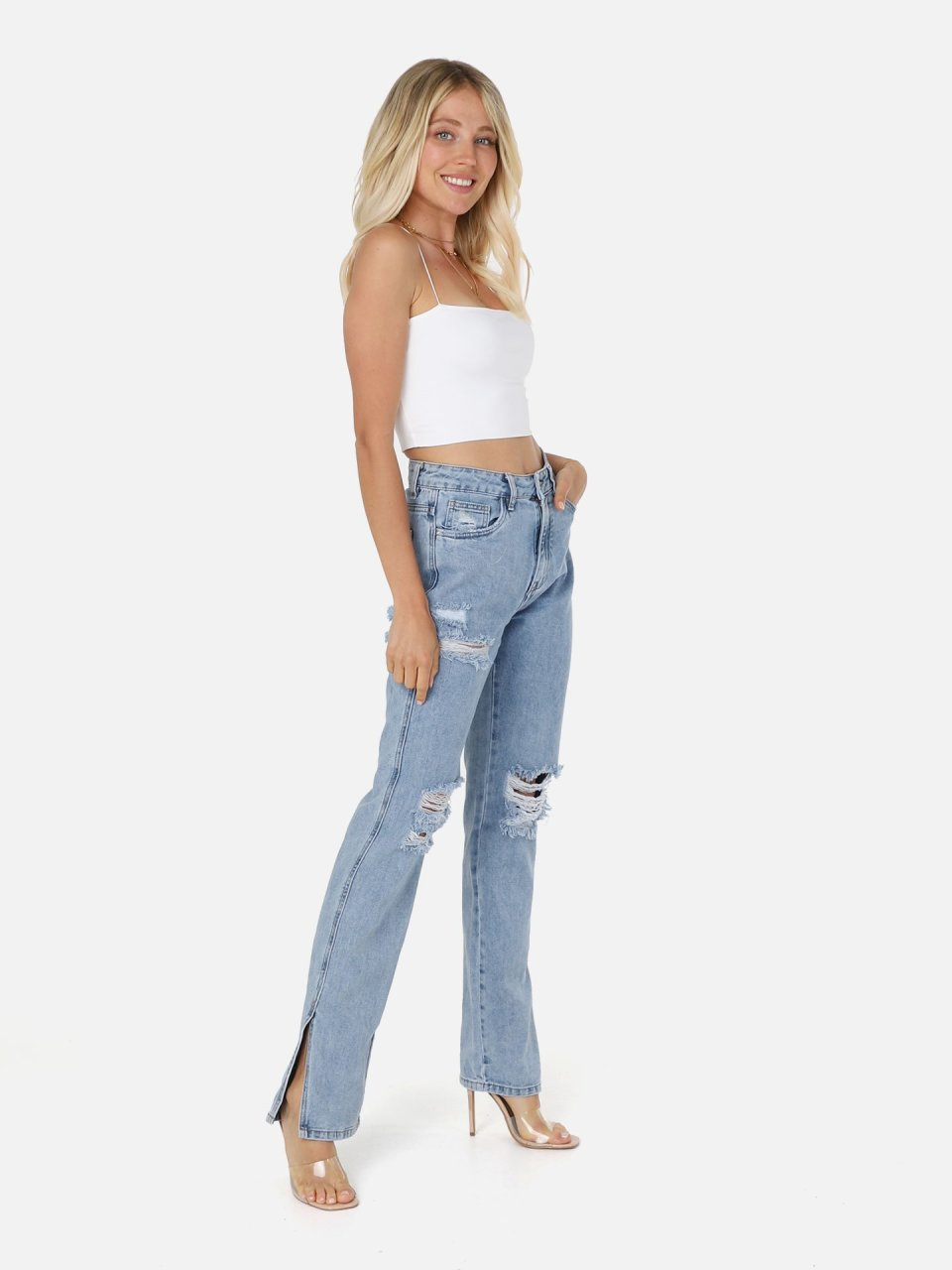 Trashed Palazzo Jeans