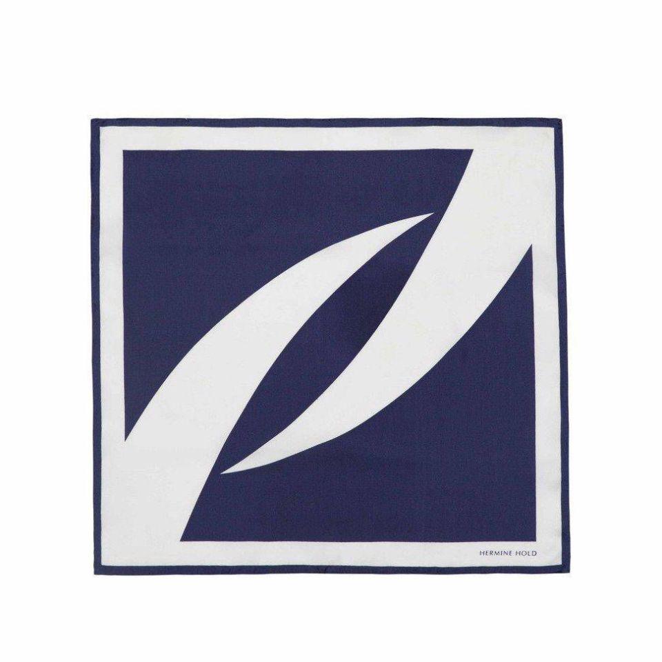 Signature Silk Scarf - White & Blue