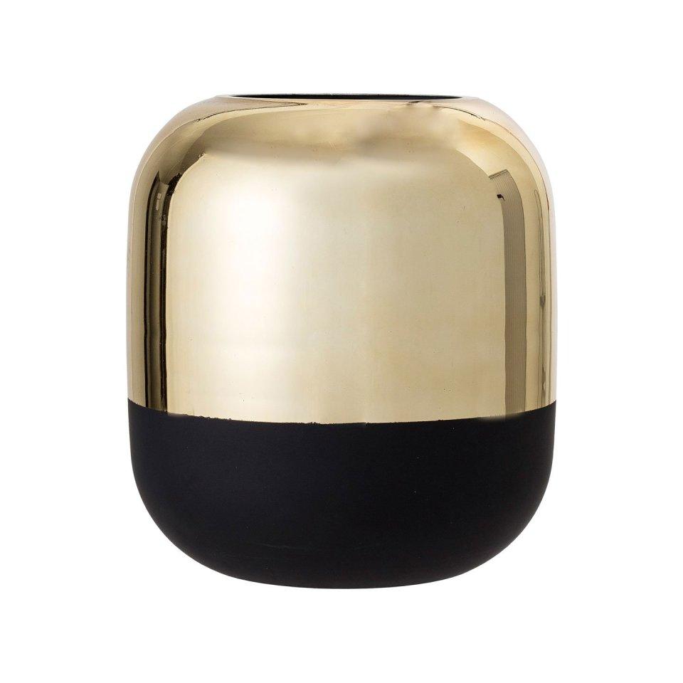 Glasvase Mattschwarz & Gold