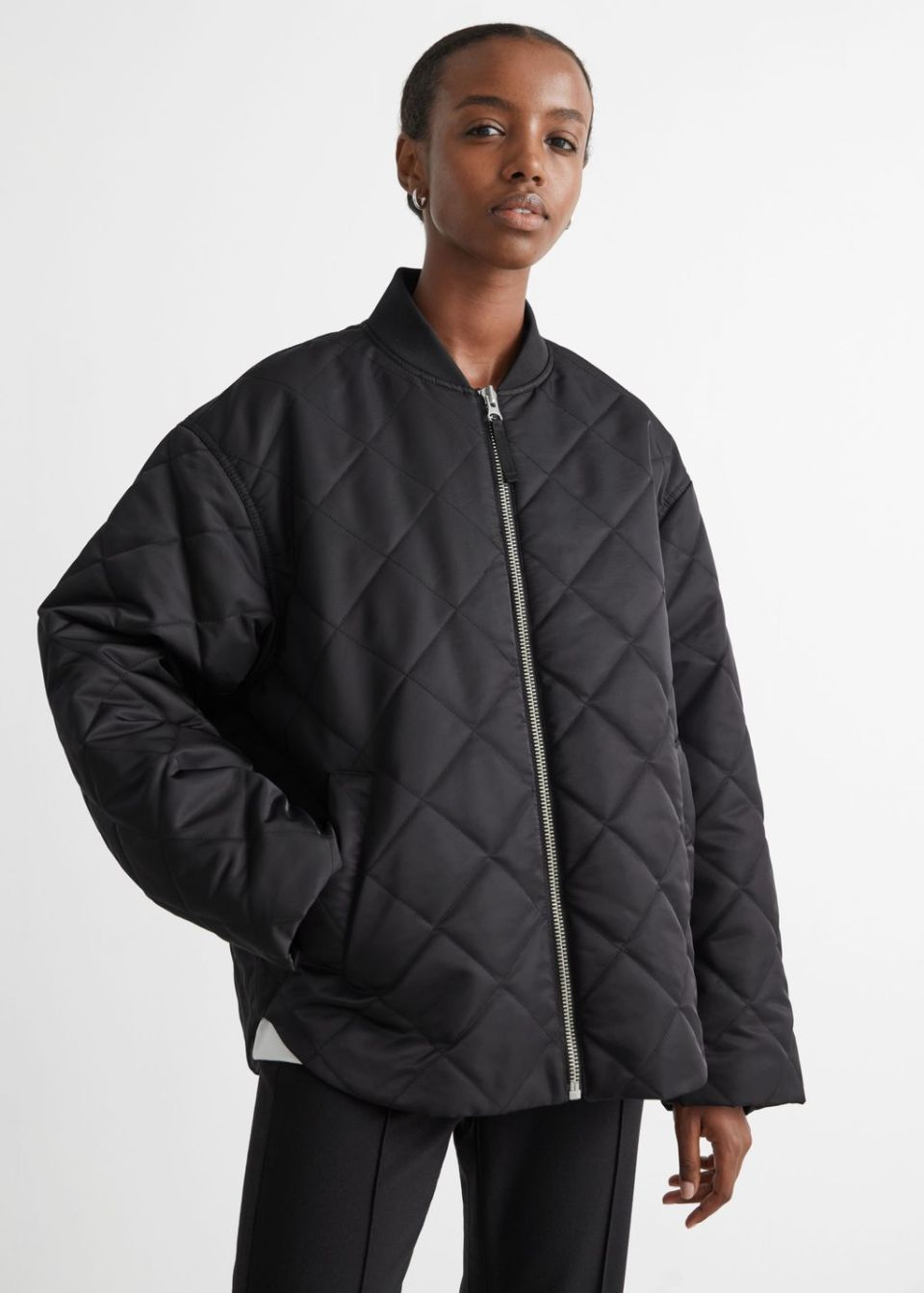 Oversized Quilted Bomber Jacket