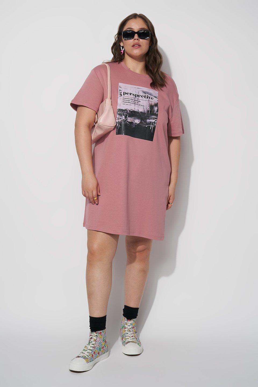 100% Organic Graphic Print T-shirt Mini Dress