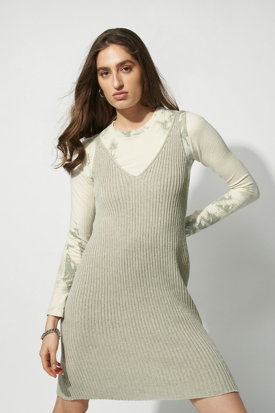 100% Recycled V-neck Knitted Mini Dress