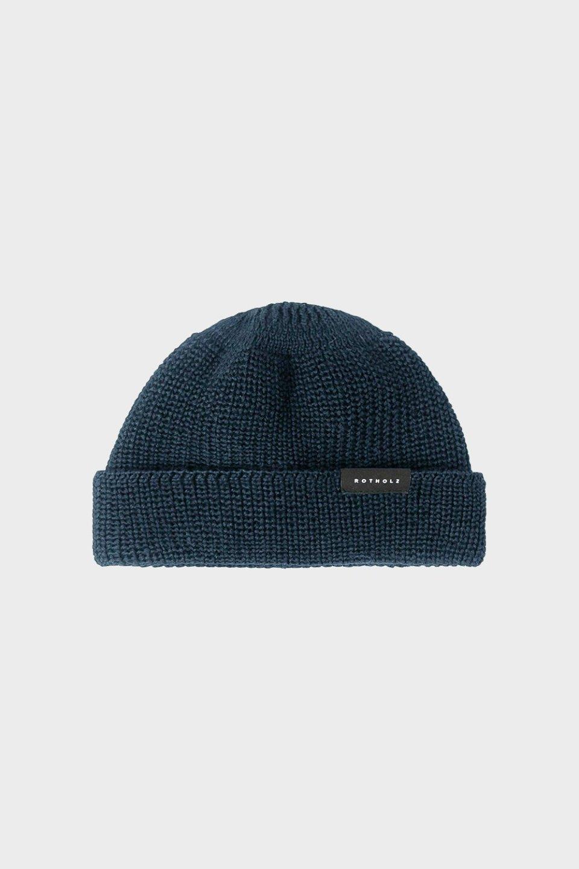 Kurze Mütze Wolle Ripp Blau