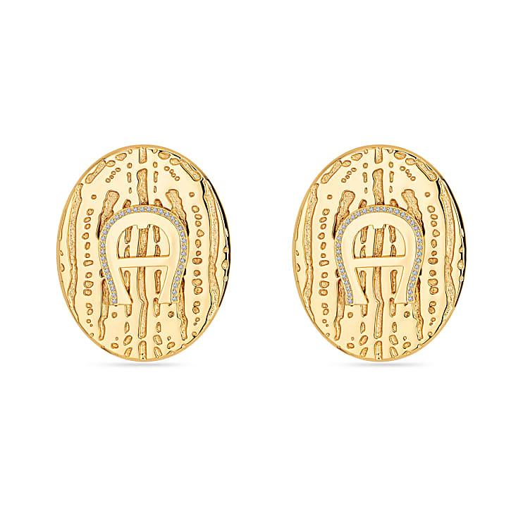 Aigner Damen Ohrringe A-Logo mit Kristallen, in Gold