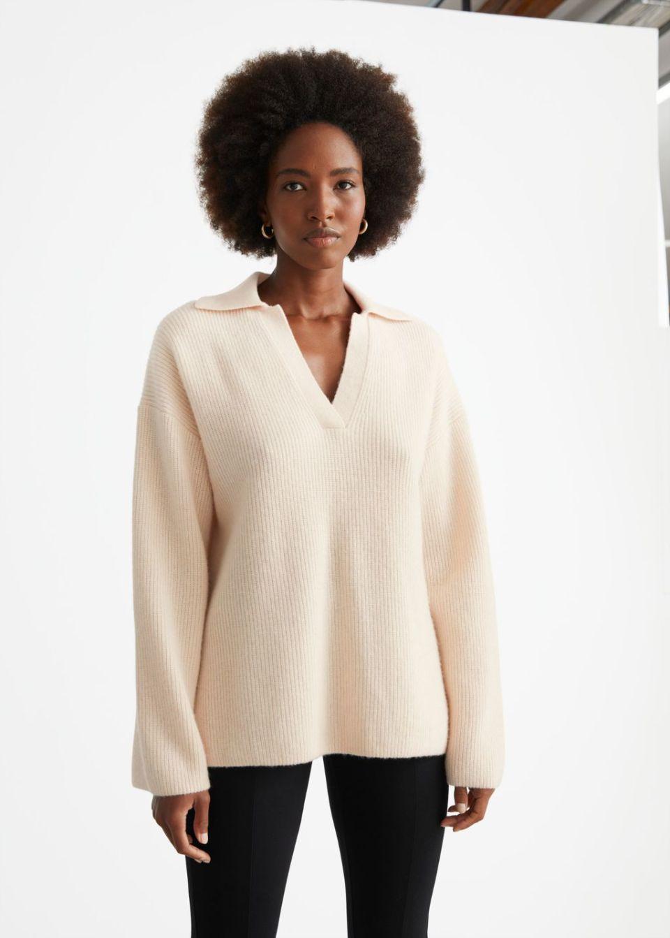 Wool Knit Polo Sweater