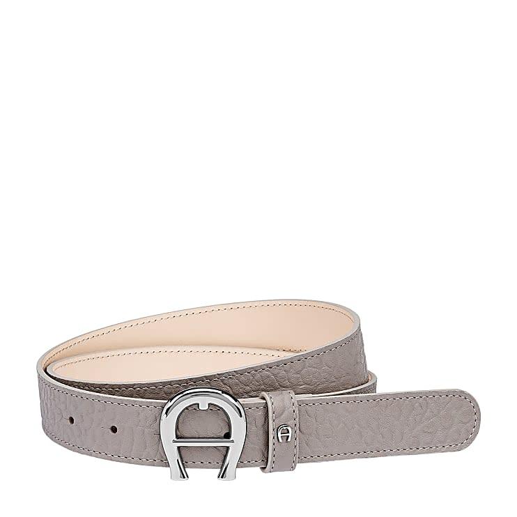 Aigner Damen Palermo Gürtel 3 cm Genarbtes, Leder in Clay Grey