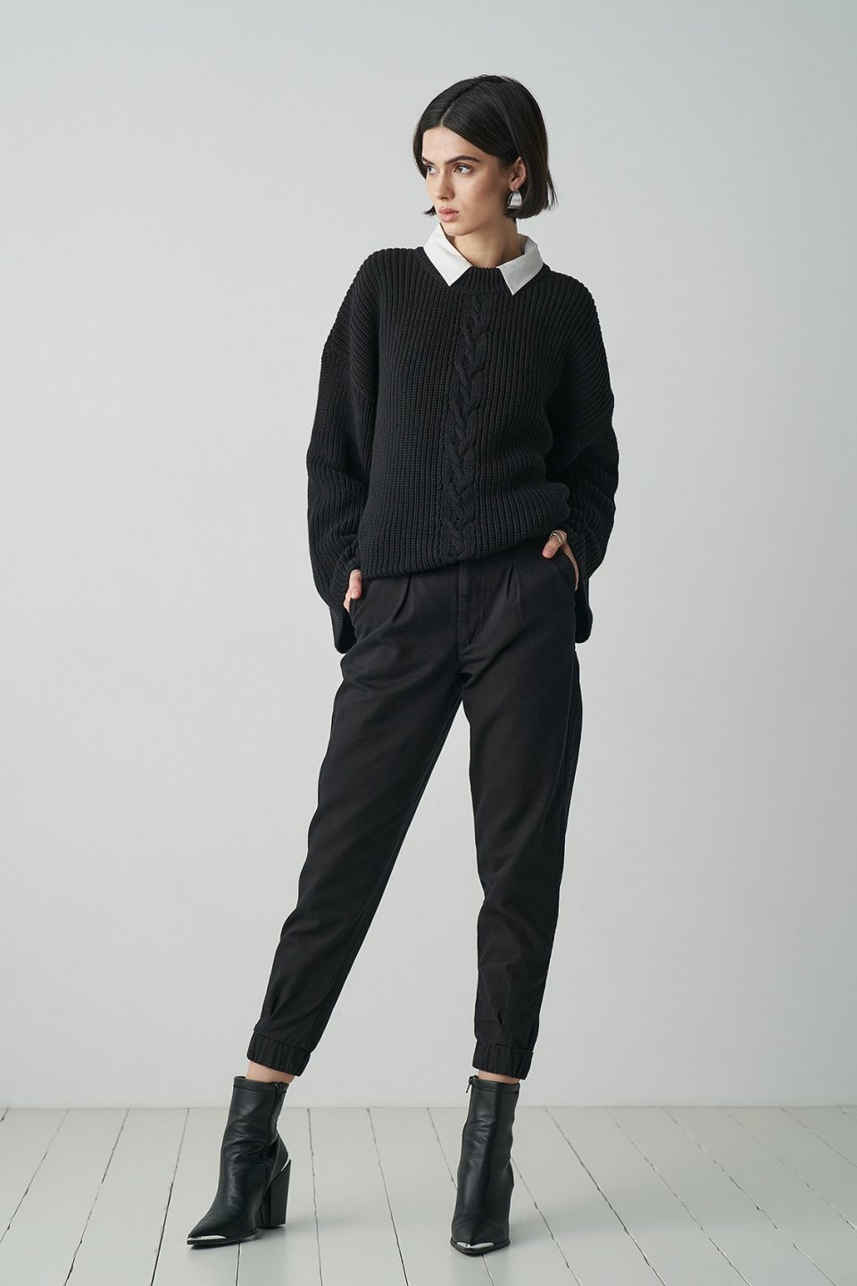 Loose Fit Cable Knitted Sweater