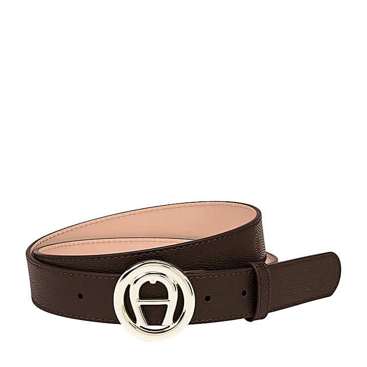 Aigner Damen Livia Belt 3 cm Genarbtes, Leder in Espresso Brown