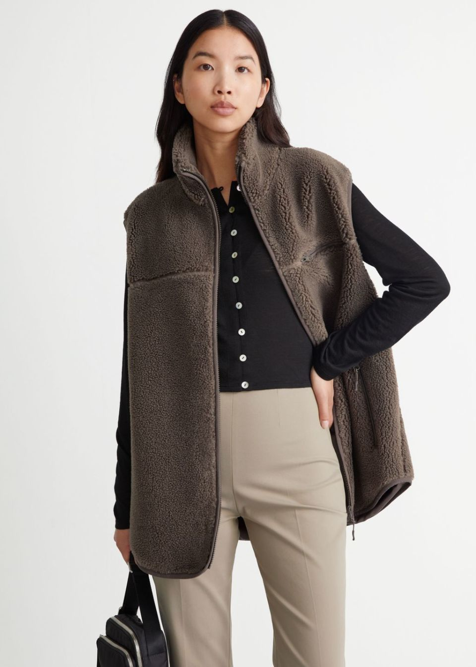 Relaxed Pile Zip Vest