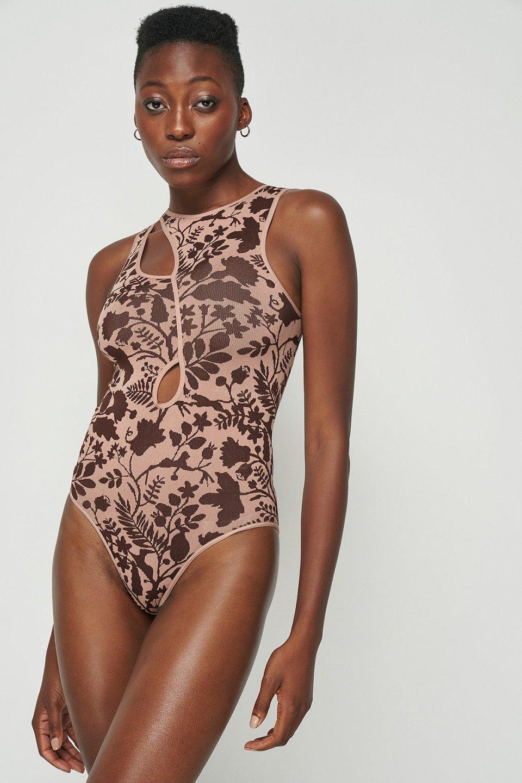 Asymmetric Seamless Bodysuit Pink/Brown