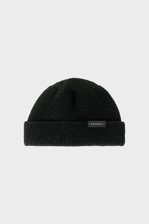 Kurze Mütze Wolle Ripp Schwarz