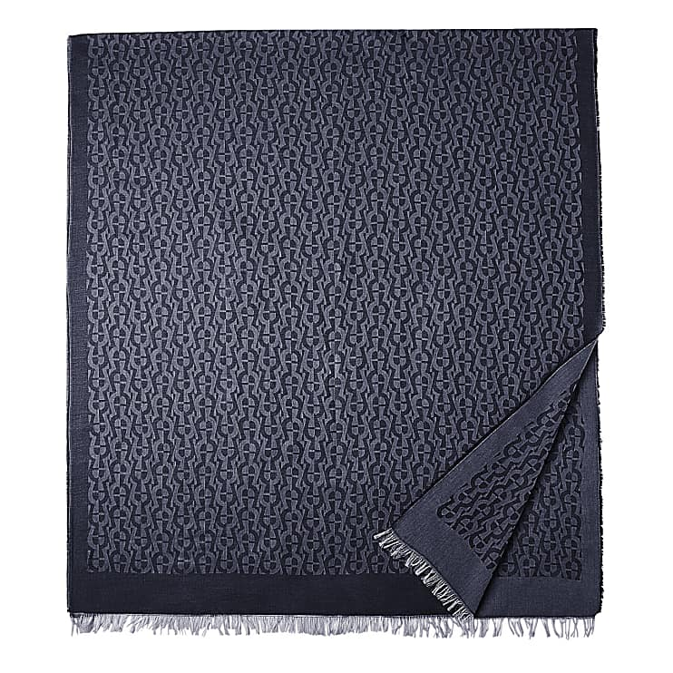 Aigner Unisex SCHAL M, Baumwollmischung in Blau