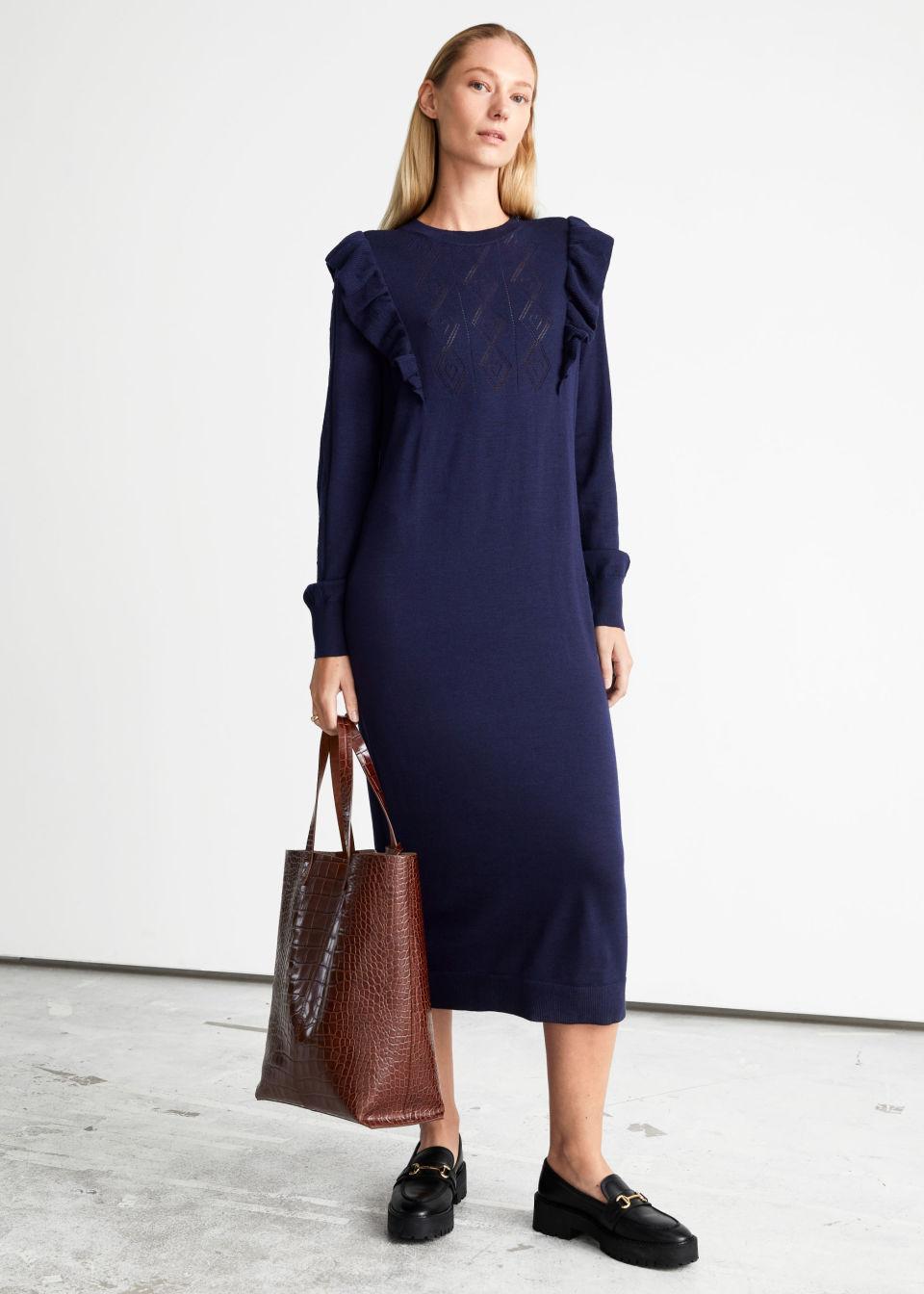 Pointelle Knit Midi Dress