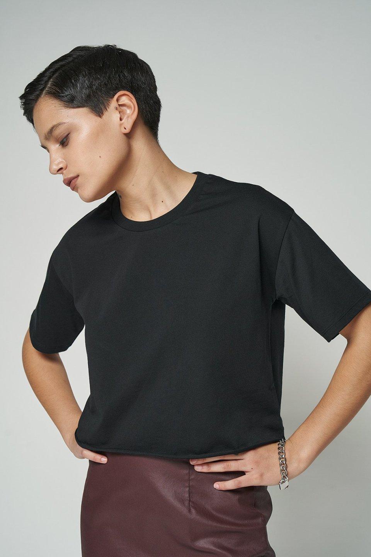 100% Organic Raw Hem Cropped Oversized T-shirt