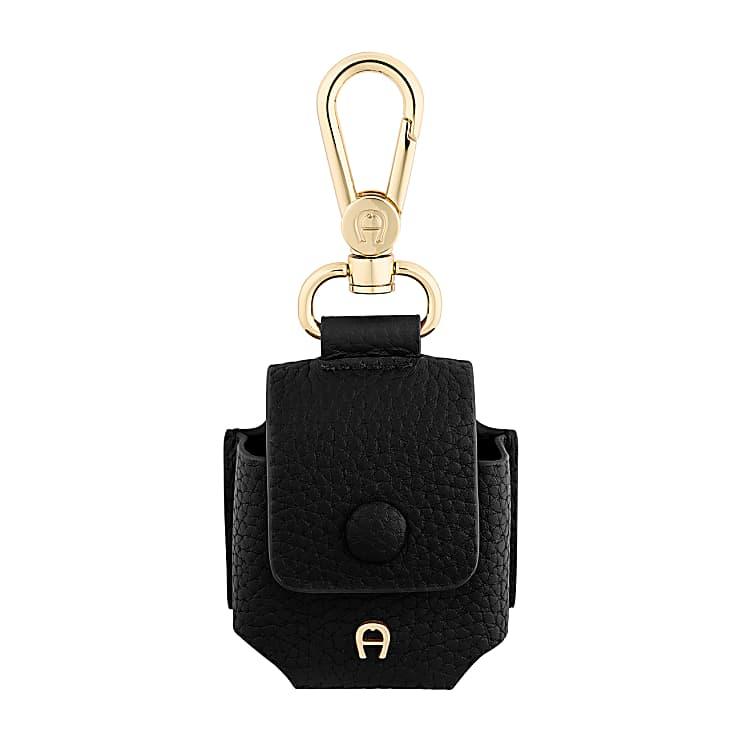 Aigner Damen Fashion Airpod-Tasche, Prägung in Schwarz