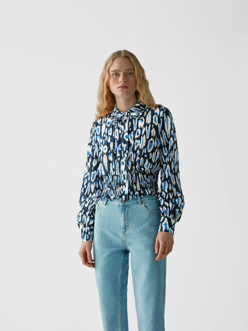 Gemusterte Cropped Bluse
