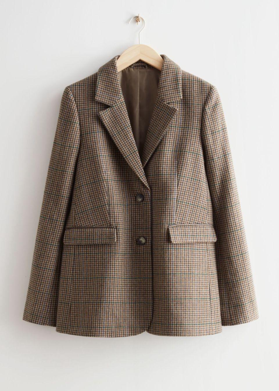 Fitted Checkered Blazer