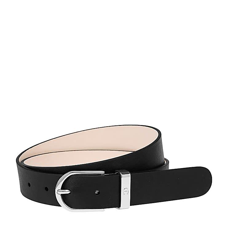 Aigner Damen Fashion Gürtel 3 cm, Glattleder in Schwarz
