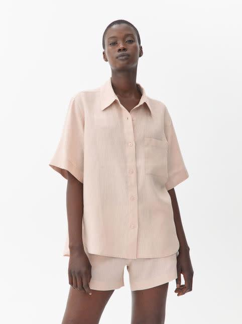 Short-Sleeved Linen Shirt