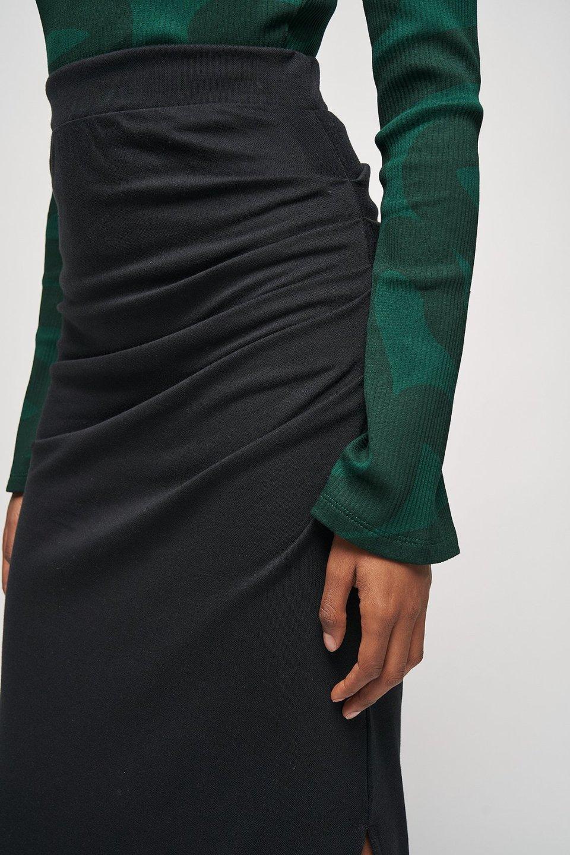 Pleated Side Detail Midi Skirt