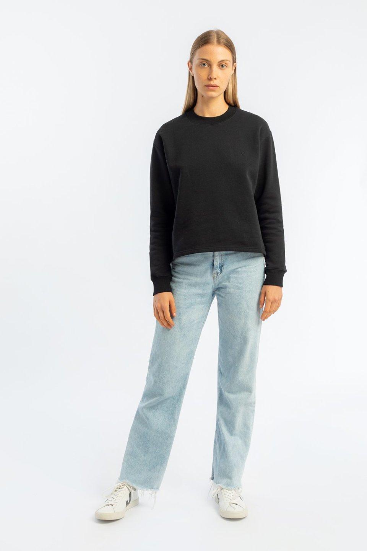 Kurzes Basic Sweatshirt aus Bio-Baumwolle Schwarz