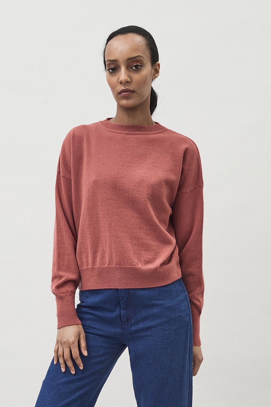 Ior Short Boxy Sweater - Dusty Pink