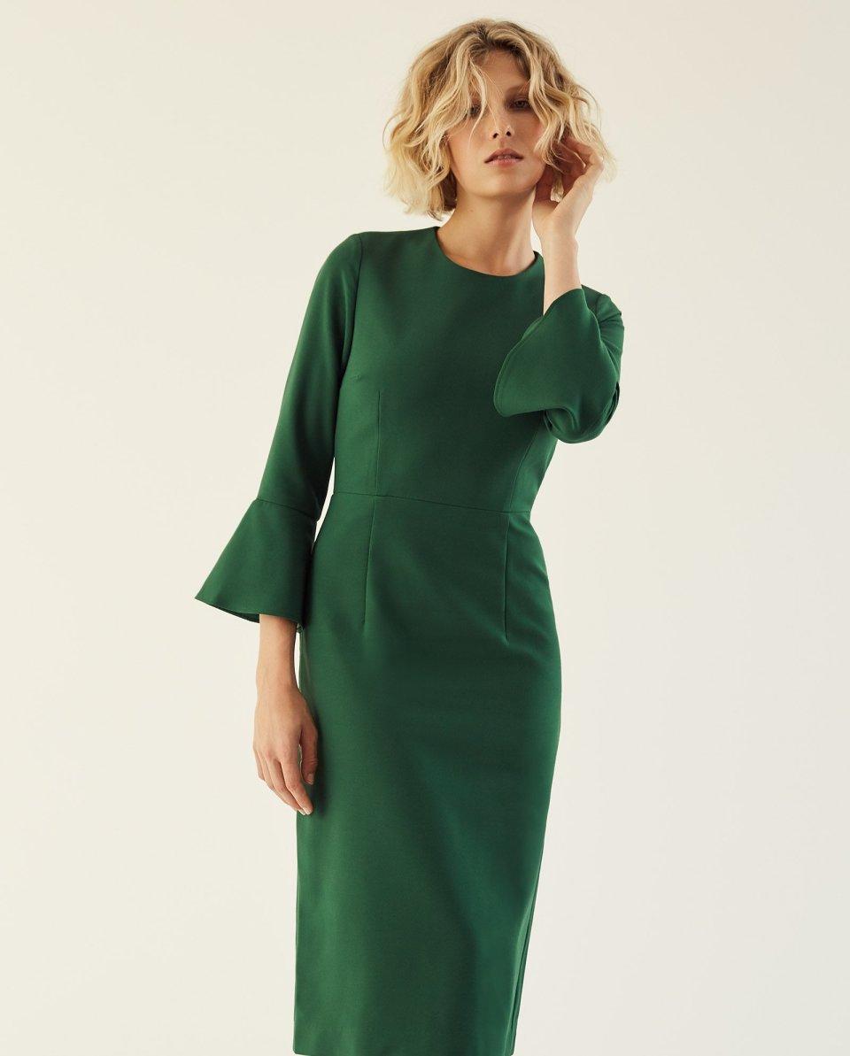 Midi Kleid mit Volant Ärmeln