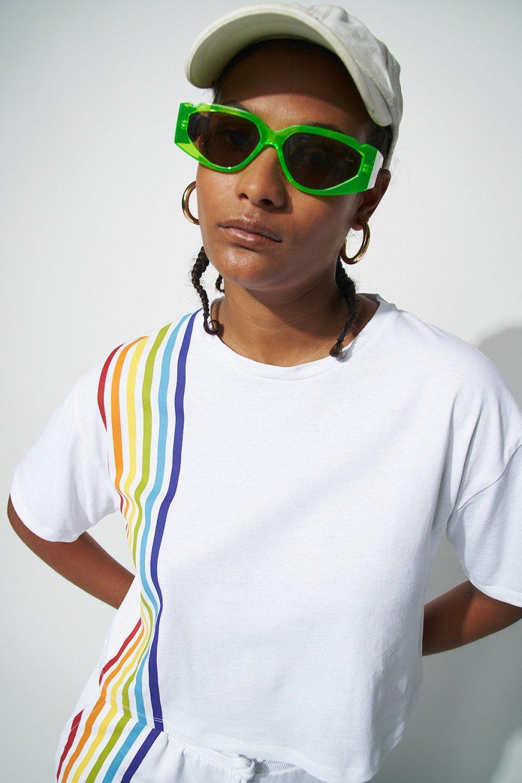 Rainbow Print Cropped Short Sleeve T-shirt