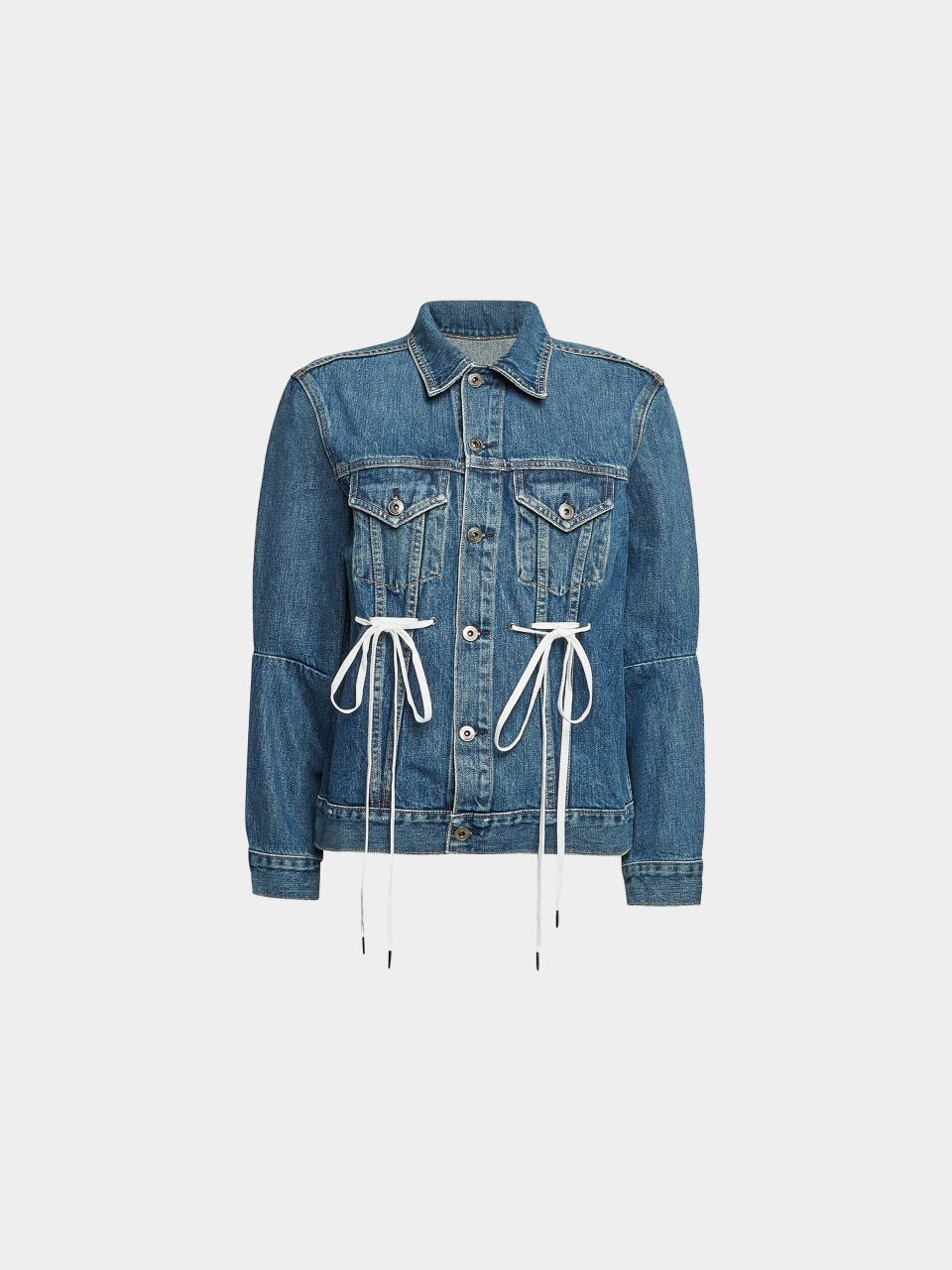 Jeansjacke mit Schnürdetails