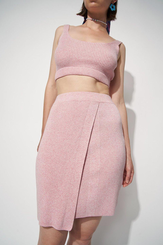 Knitted Marl Wrap Mini Skirt