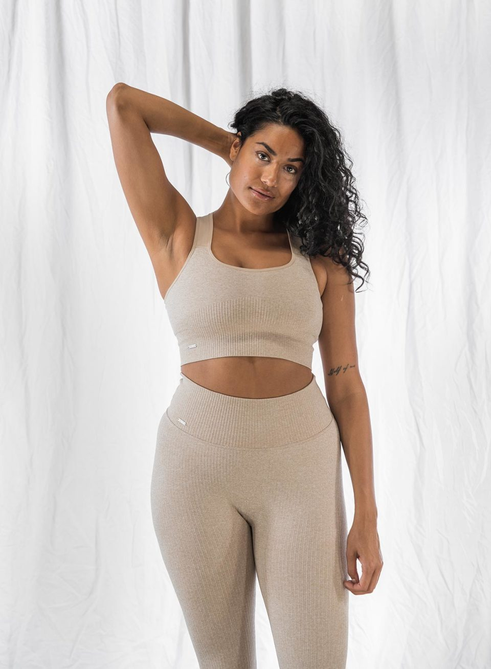 Beige High Support Ribbed Bra