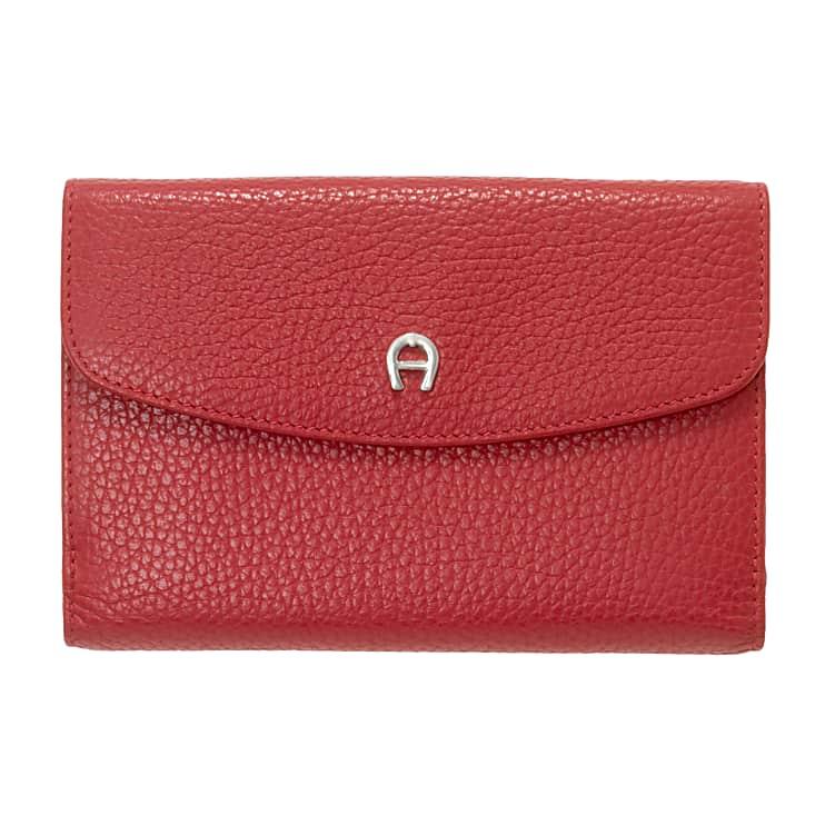 Aigner Damen Klassische Geldbörse Genarbtes, Leder in Rot