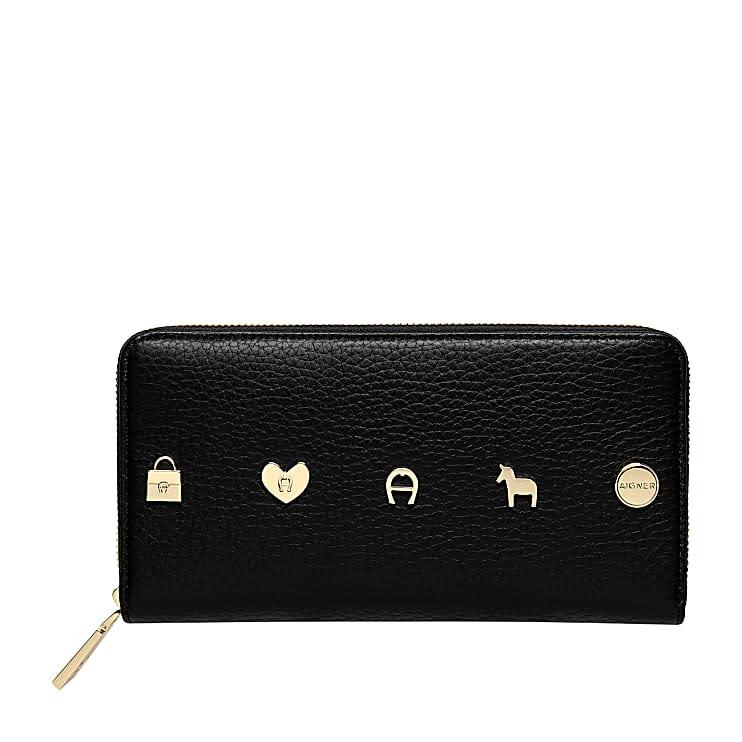 Aigner Damen Fashion Portemonnaie mit Reißverschluss Genarbtes, Leder in Schwarz