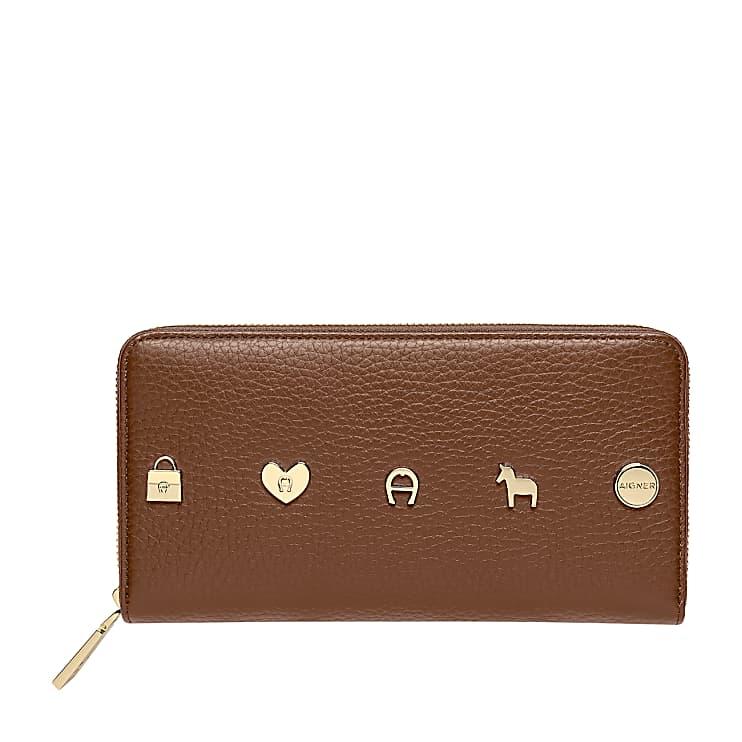 Aigner Damen Fashion Portemonnaie mit Reißverschluss Genarbtes, Leder in Braun
