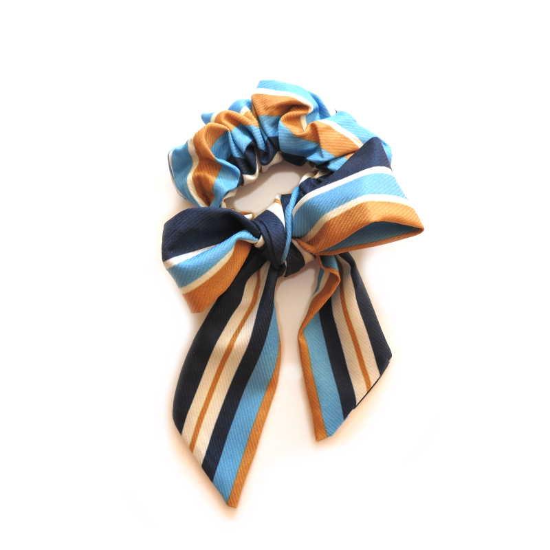Scrunchie mit Schleife - marine braun bleu