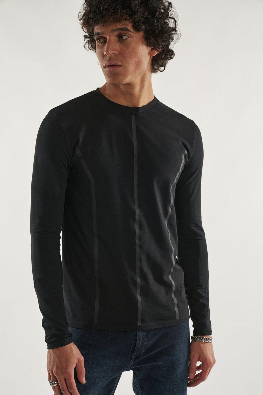 Mock Neck Long Sleeve Panel T-Shirt