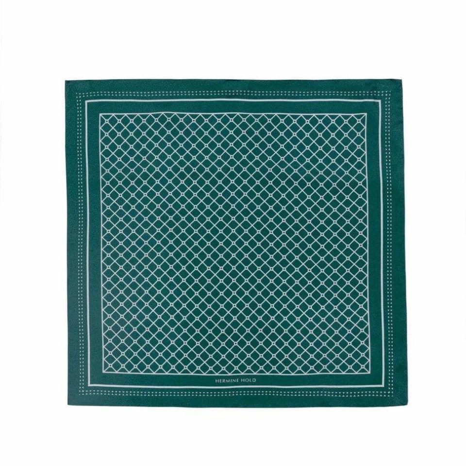Hermine Silk Scarf - Green & White