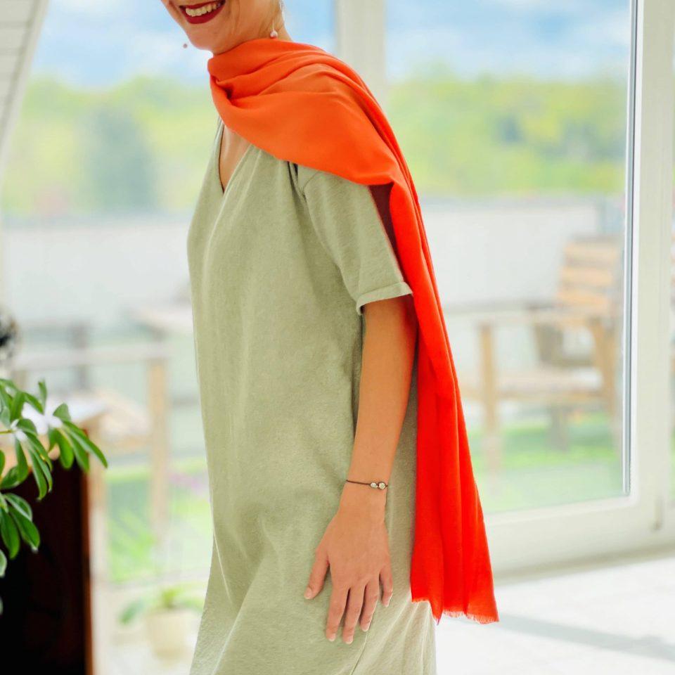 Handgewebtes Kaschmirtuch mit Farbverlauf
