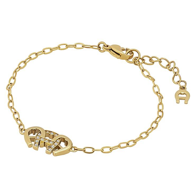 Aigner Damen Armkettchen Dreifach-Logo gold, in Gold