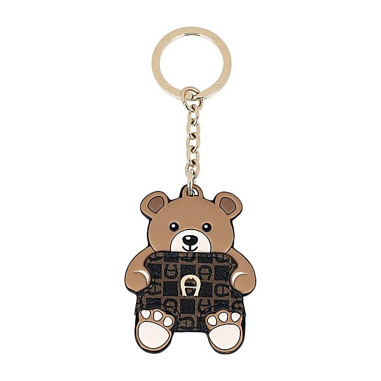 Aigner Damen Schlüsselanhänger Teddybär Dadino, Logo in Braun